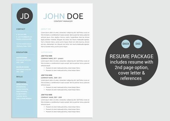 Classic Resume Template Word Download Unique Items Similar to Classic Blue Word Resume Template Cv