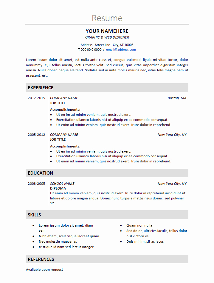 Classic Resume Template Word Download Unique Nakameguro Classic Elegant Resume Template