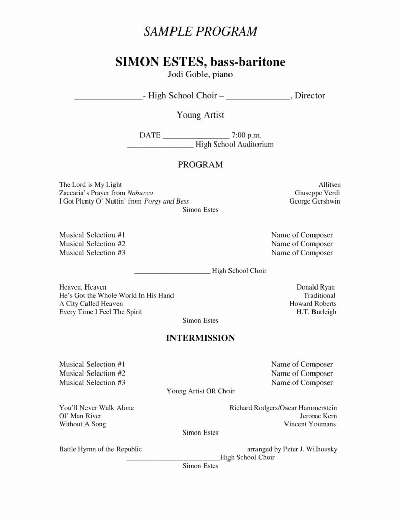 Classical Music Concert Program Template Beautiful 7 Concert Program Templates Pdf