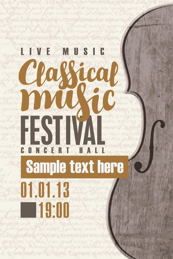 Classical Music Concert Program Template Beautiful Classical Music Retro Concert Poster Template 12 Vector