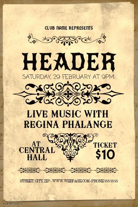 Classical Music Concert Program Template Best Of Classical Music Concert Old Vintage Flyer Template