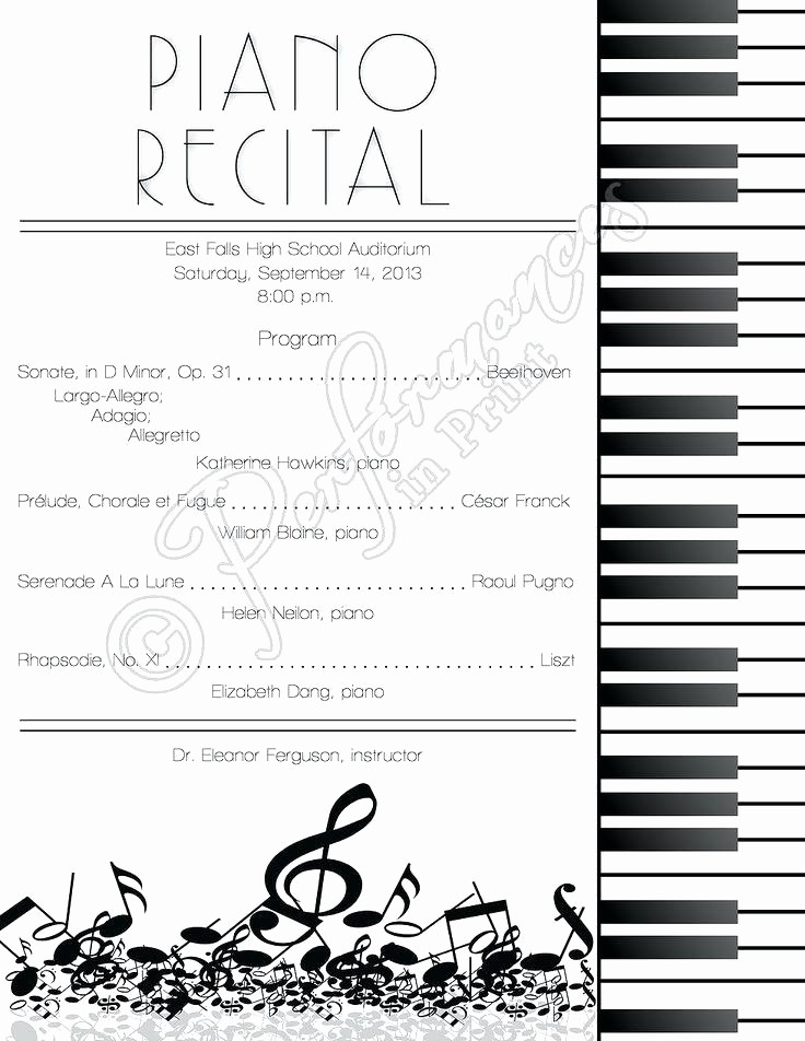 Classical Music Concert Program Template Elegant Music Concert Program Template Ten Lessons that Will Teach