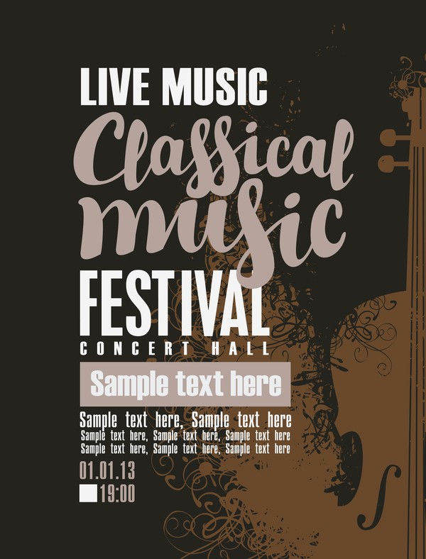 classical music retro concert poster template 11