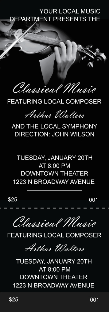 Classical Music Concert Program Template Inspirational Classical Music event Ticket