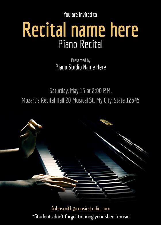 Classical Music Concert Program Template Lovely Piano Recital Maestro Free Recital Invitation Templates