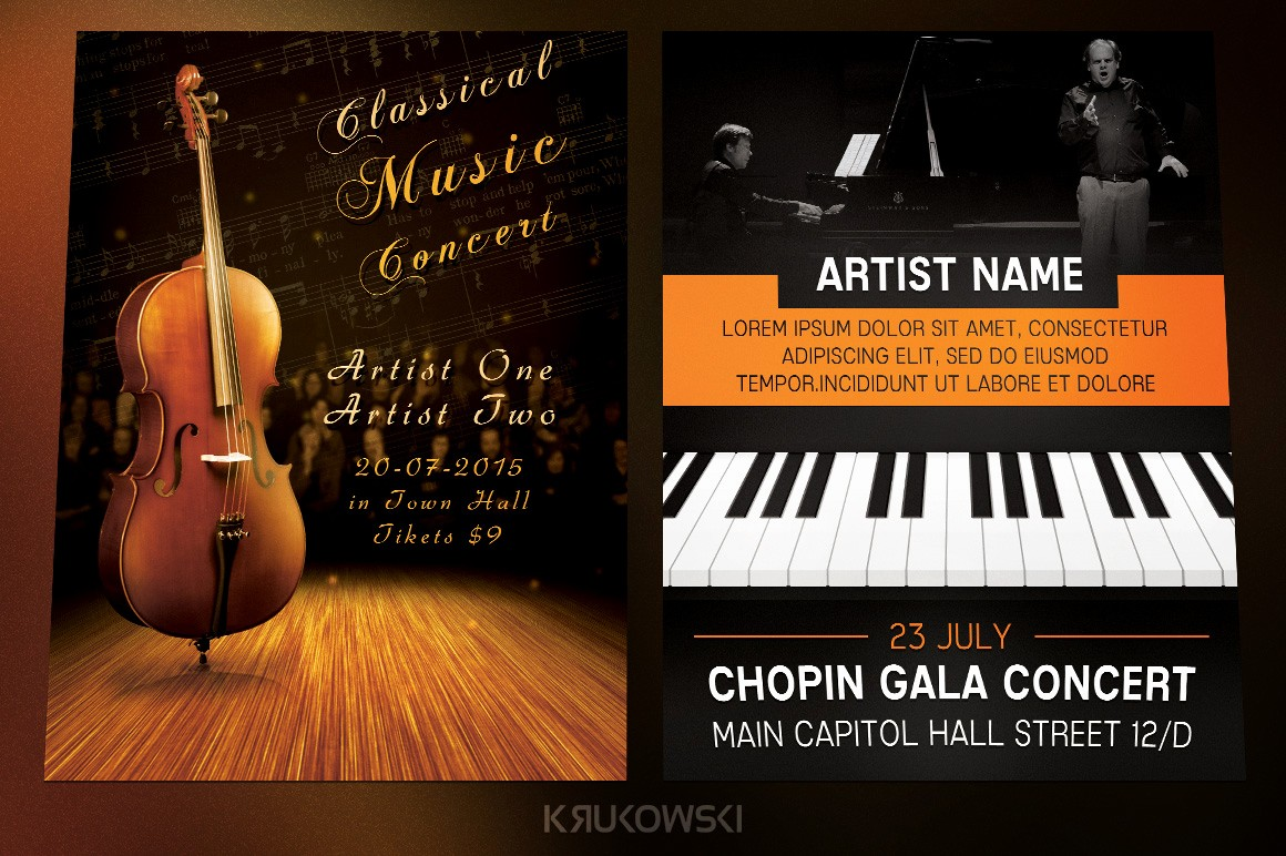Classical Music Concert Program Template Luxury Classical Music event Flyers Bundle Flyer Templates On