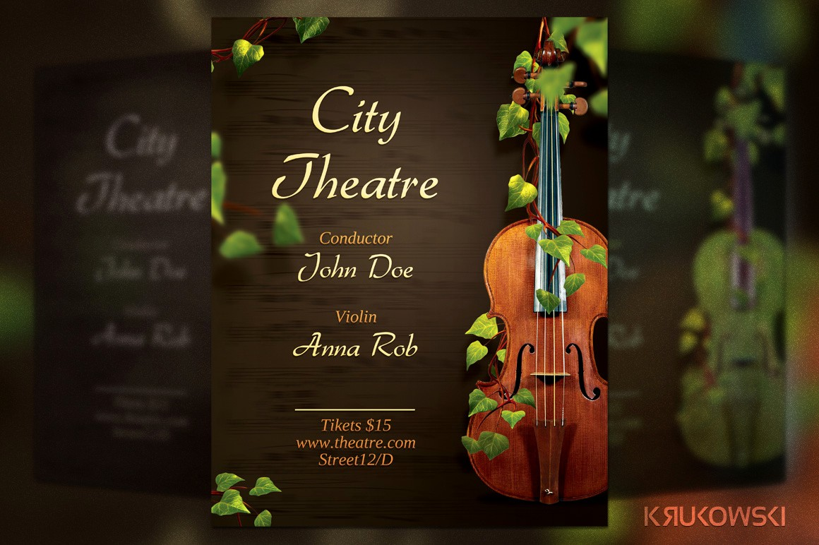 Classical Music Concert Program Template Luxury Violin Concert Flyer Flyer Templates On Creative Market