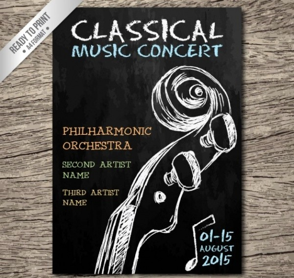 Classical Music Concert Program Template New 21 Chalkboard Flyer Designs Psd Vector Eps Jpg