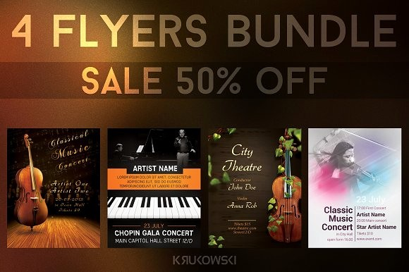 Classical Music Concert Program Template New Classical Music event Flyers Bundle Flyer Templates On