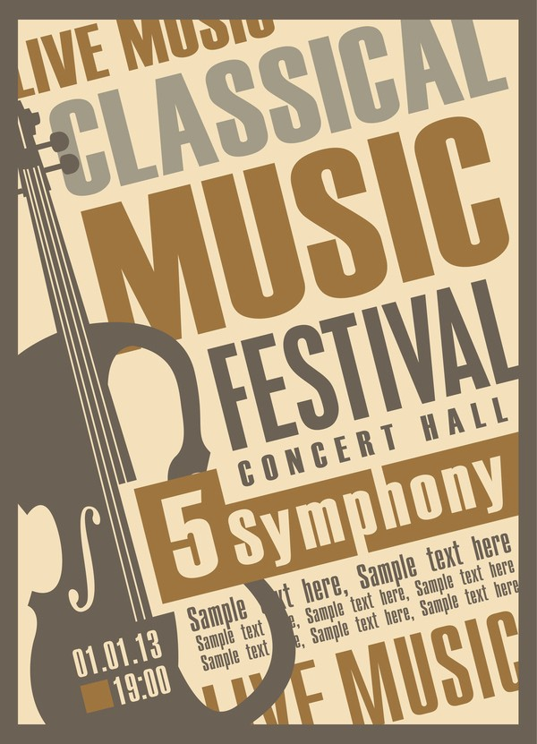 Classical Music Concert Program Template New Classical Music Retro Concert Poster Template 01 Vector