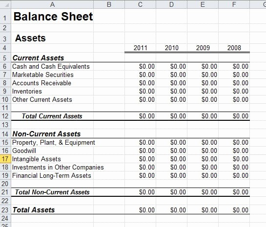 Classified Balance Sheet Template Excel Inspirational 6 Free Balance Sheet Templates Excel Pdf formats