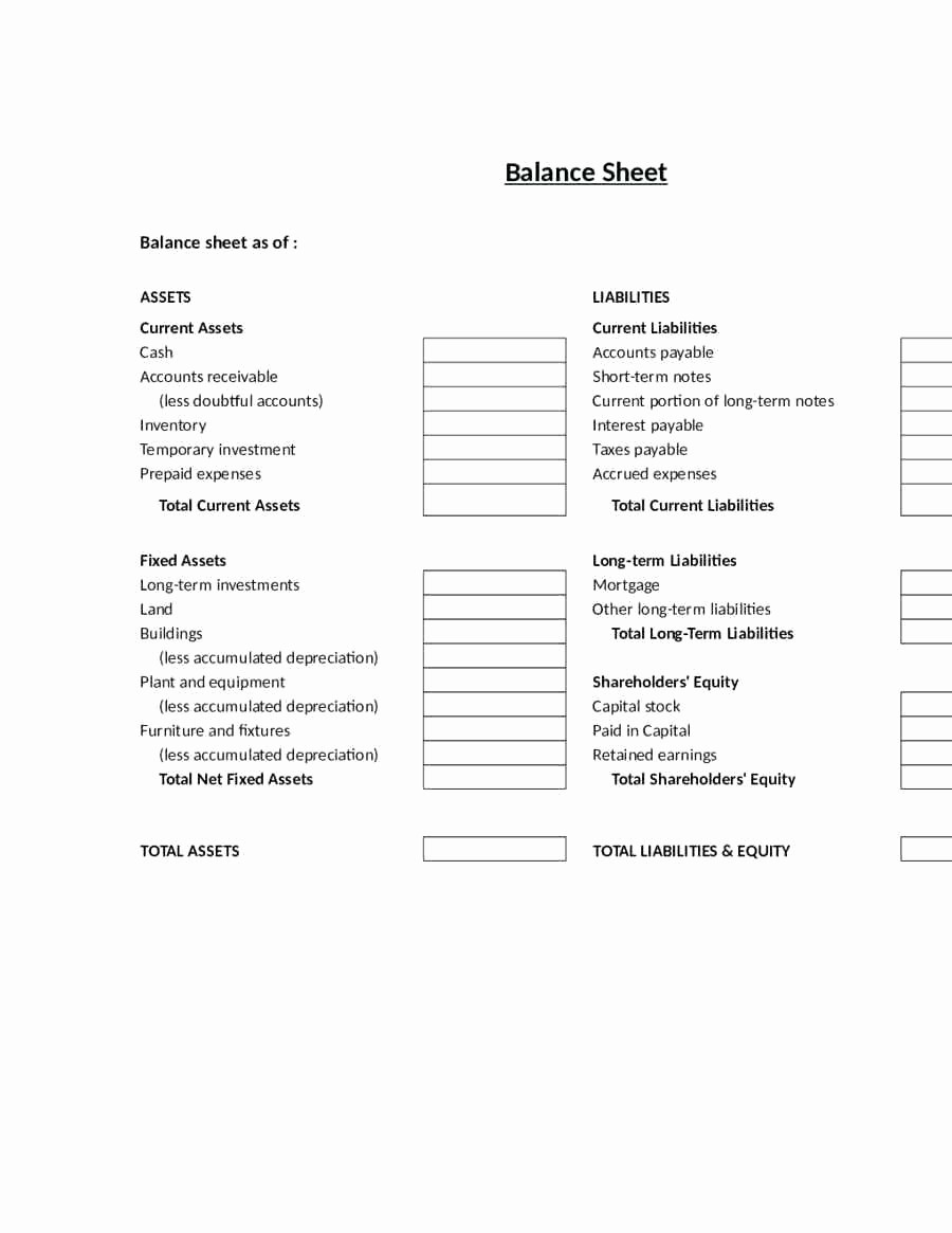 Classified Balance Sheet Template Excel Lovely Classified Balance Sheet Template Excel