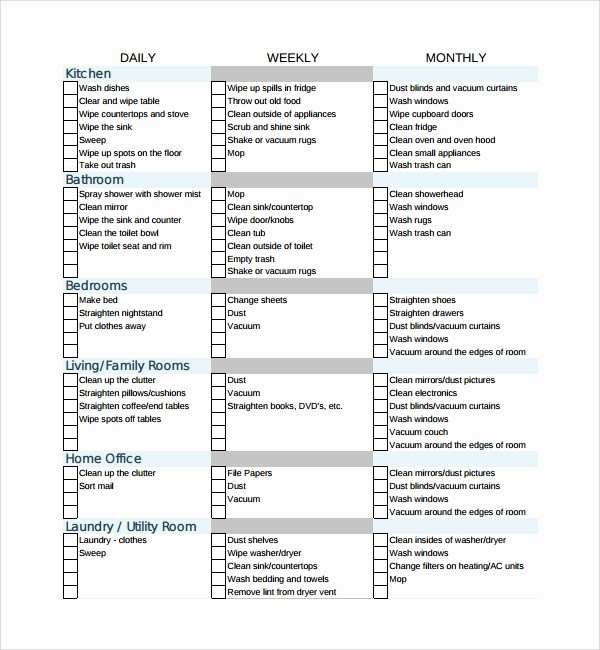 Cleaning Schedule Template for Home Awesome 7 House Cleaning Checklist Templates – Pdf Doc