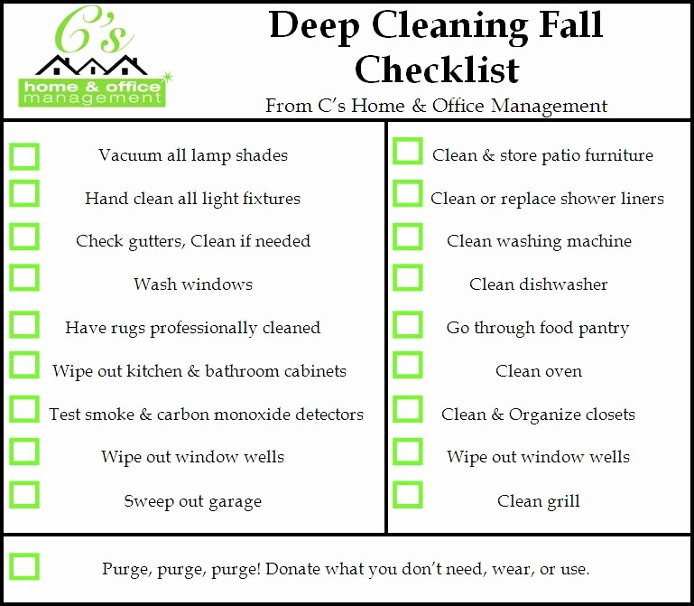 Cleaning Schedule Template for Home Beautiful Fall House Cleaning Checklist C S Home & Fice Management