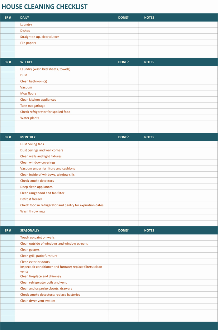 Cleaning Schedule Template for Home Beautiful House Cleaning Checklist Template to Unify Perfect Cleaning
