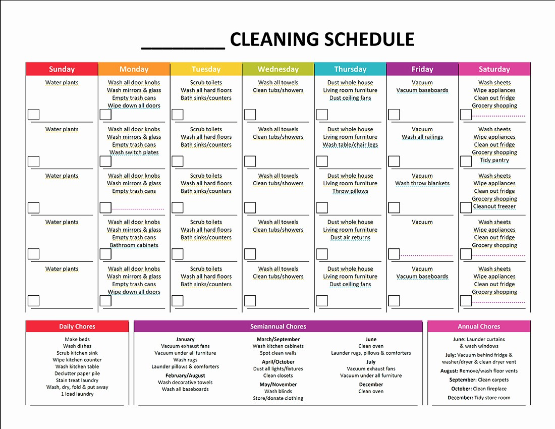Cleaning Schedule Template for Home Beautiful Plete Housekeeping Printable Set