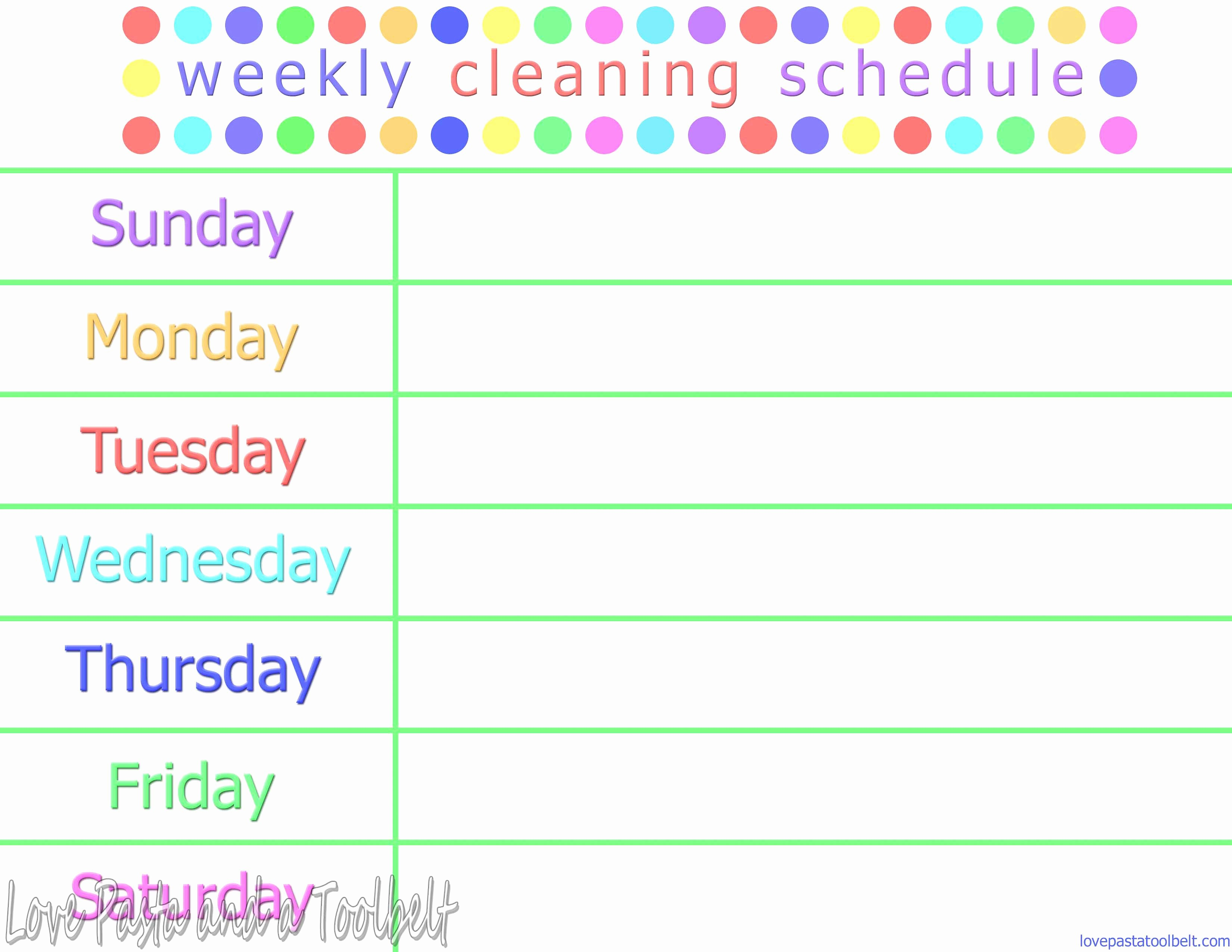 Cleaning Schedule Template for Home Best Of Weekly Cleaning Schedule Printable