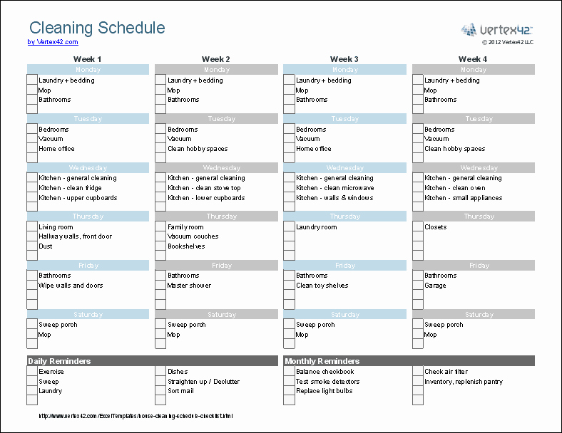 Cleaning Schedule Template for Home Elegant Cleaning Schedule Template Printable House Cleaning