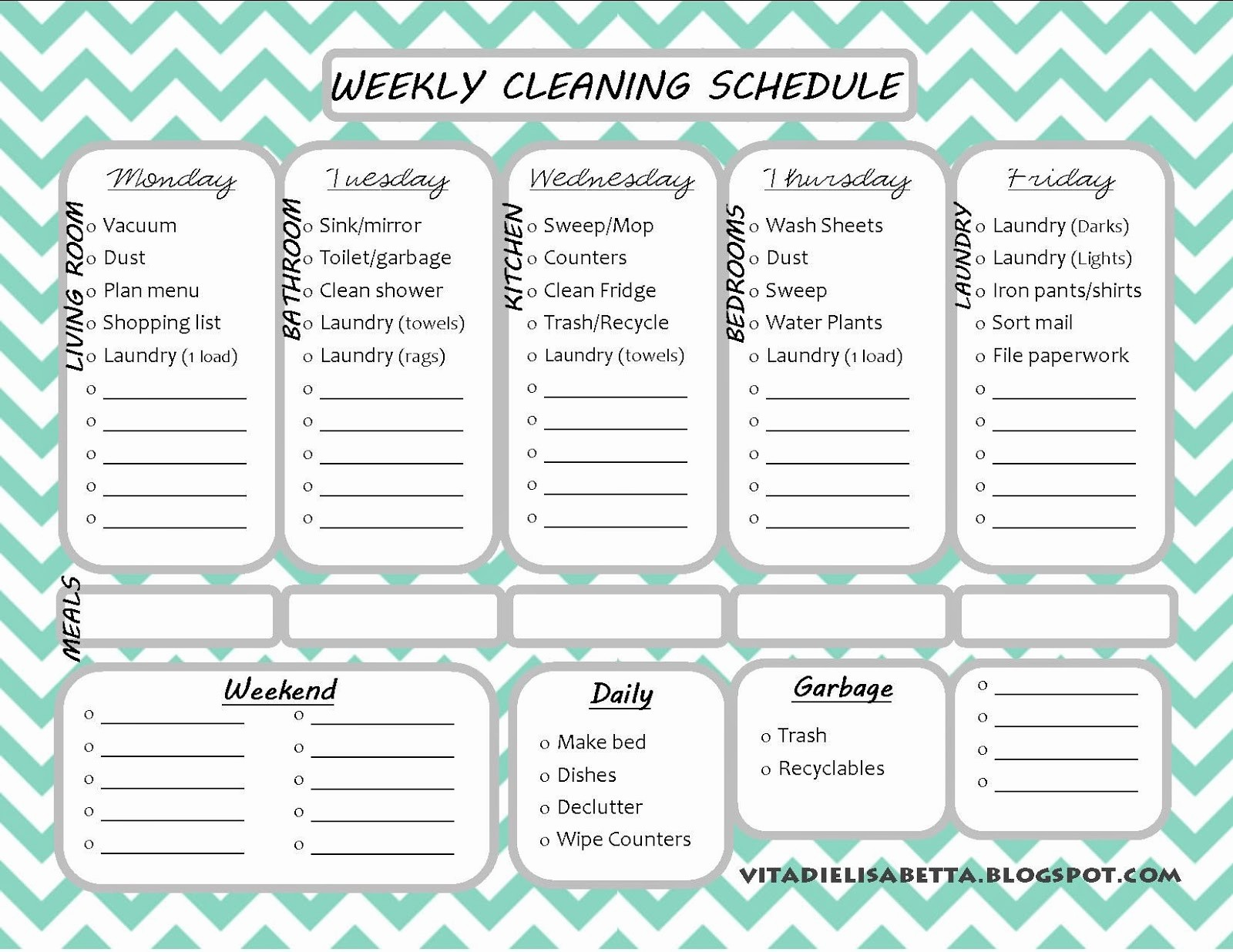 Cleaning Schedule Template for Home Elegant List Junkie Weekly Cleaning Schedule Free Printable