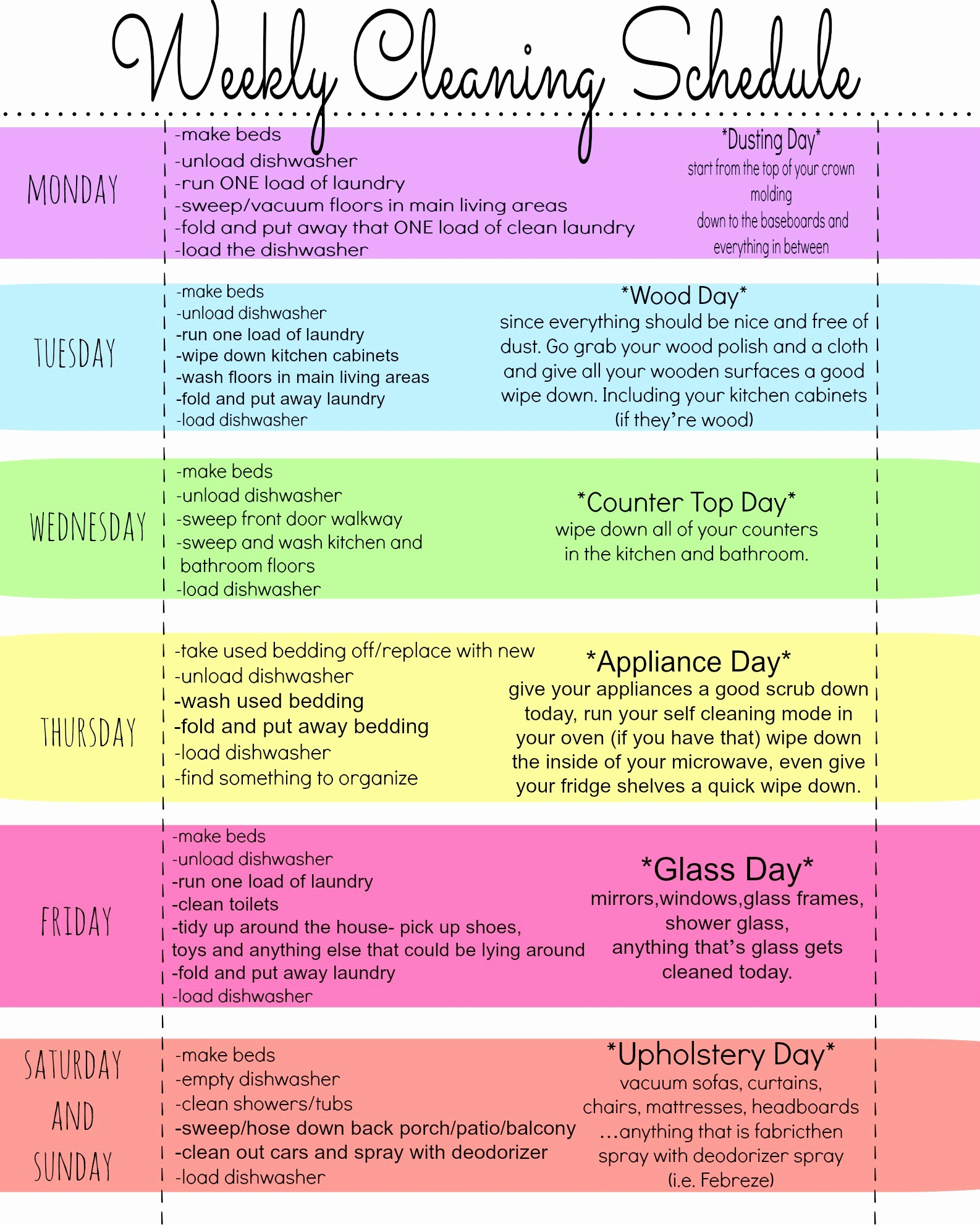Cleaning Schedule Template for Home Elegant My Quirky Weekly Cleaning Chart Free Printable First