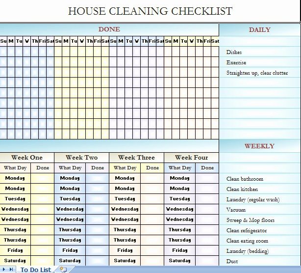 Cleaning Schedule Template for Home Fresh Checklist for House Cleaning