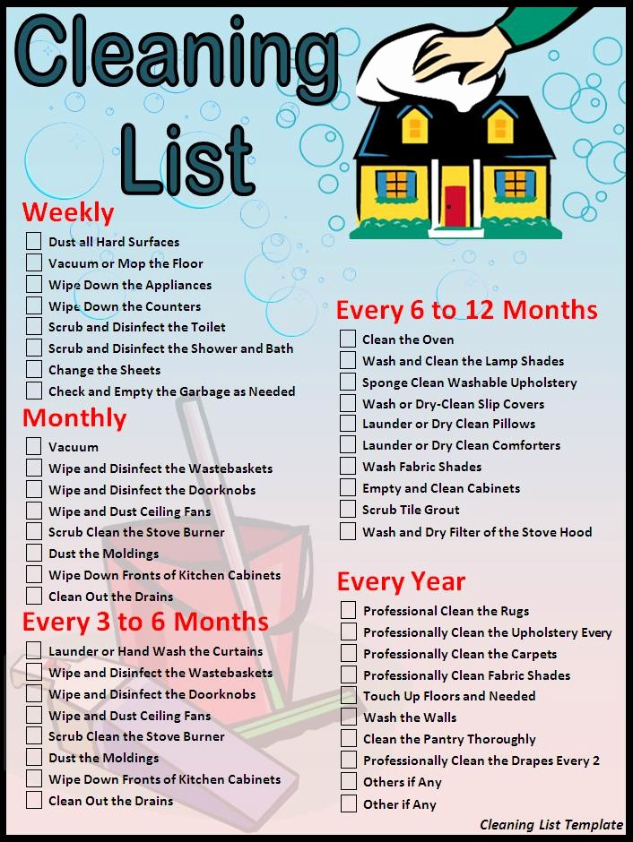 Cleaning Schedule Template for Home Fresh Cleaning Checklist Template