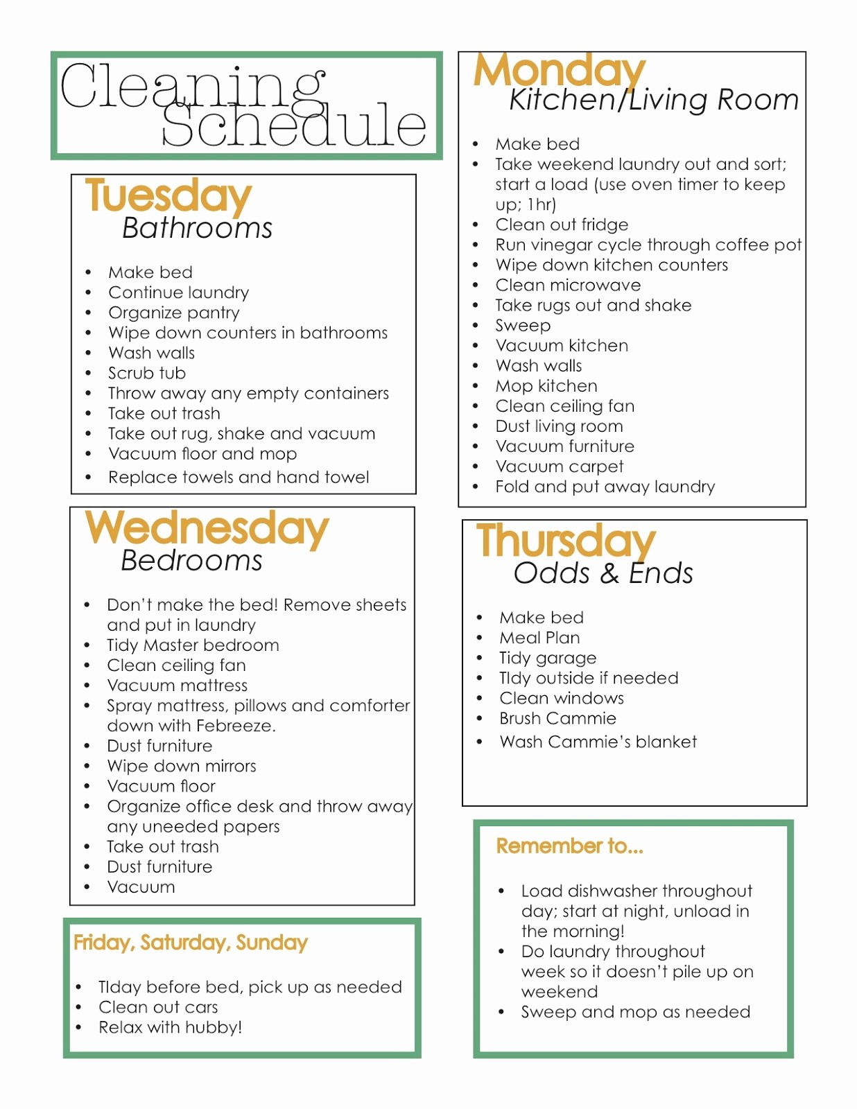 Cleaning Schedule Template for Home Fresh Home Cleaning Schedule