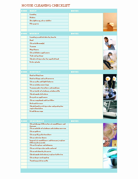 Cleaning Schedule Template for Home Fresh House Cleaning Checklist
