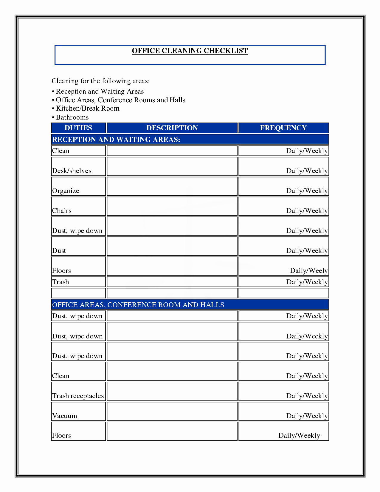 Cleaning Schedule Template for Home Inspirational Daily Fice Cleaning Checklist and Schedule Template