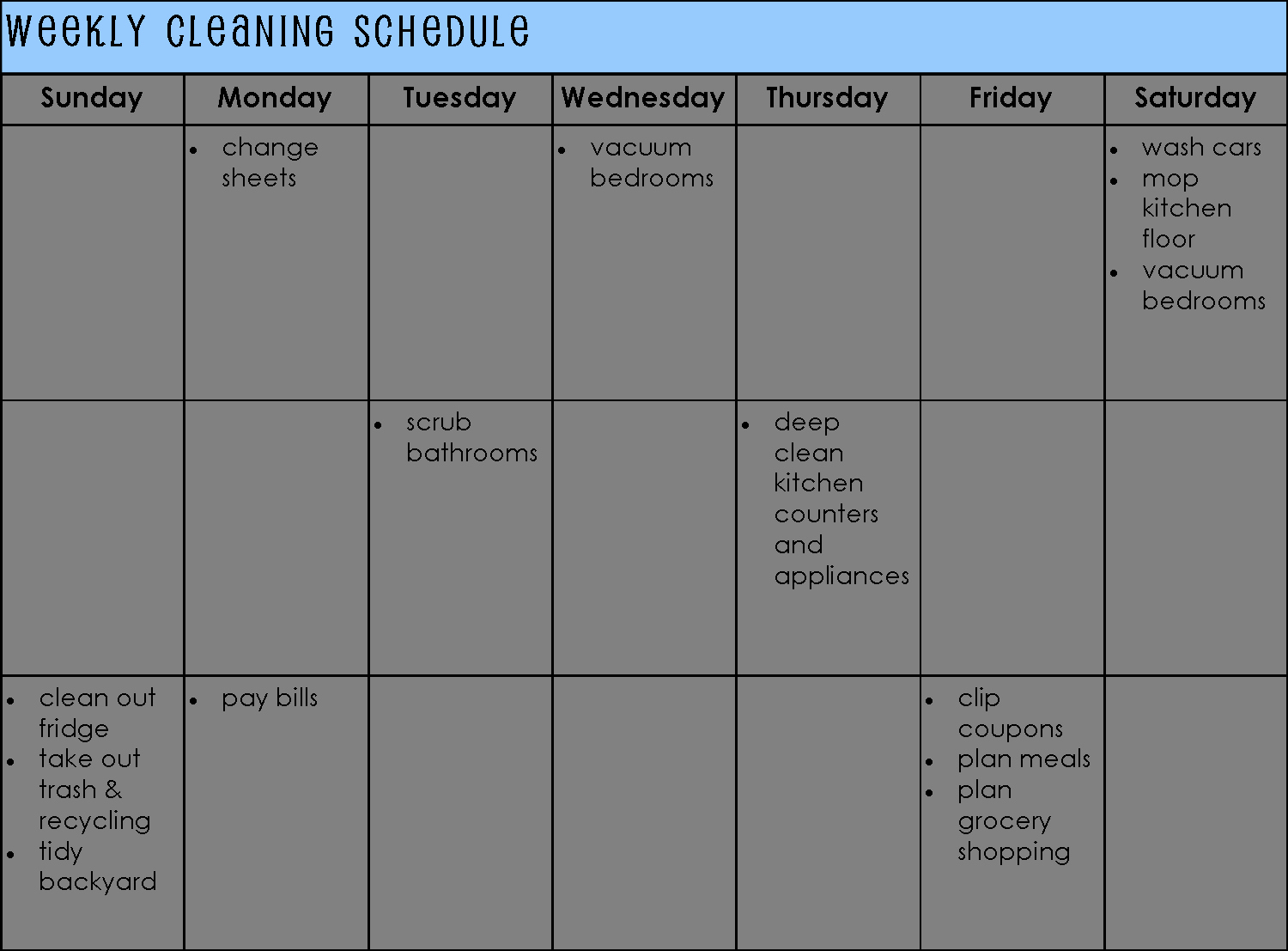 Cleaning Schedule Template for Home Inspirational Weekly Based Cleaning Schedule Template for Personal V M