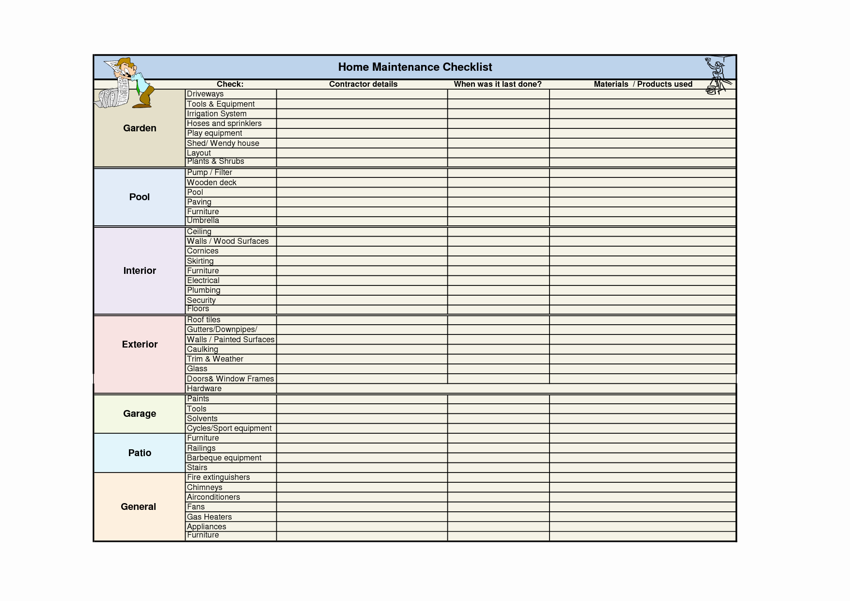 Cleaning Schedule Template for Home Luxury 5 Best Of Home Maintenance Checklist Printable