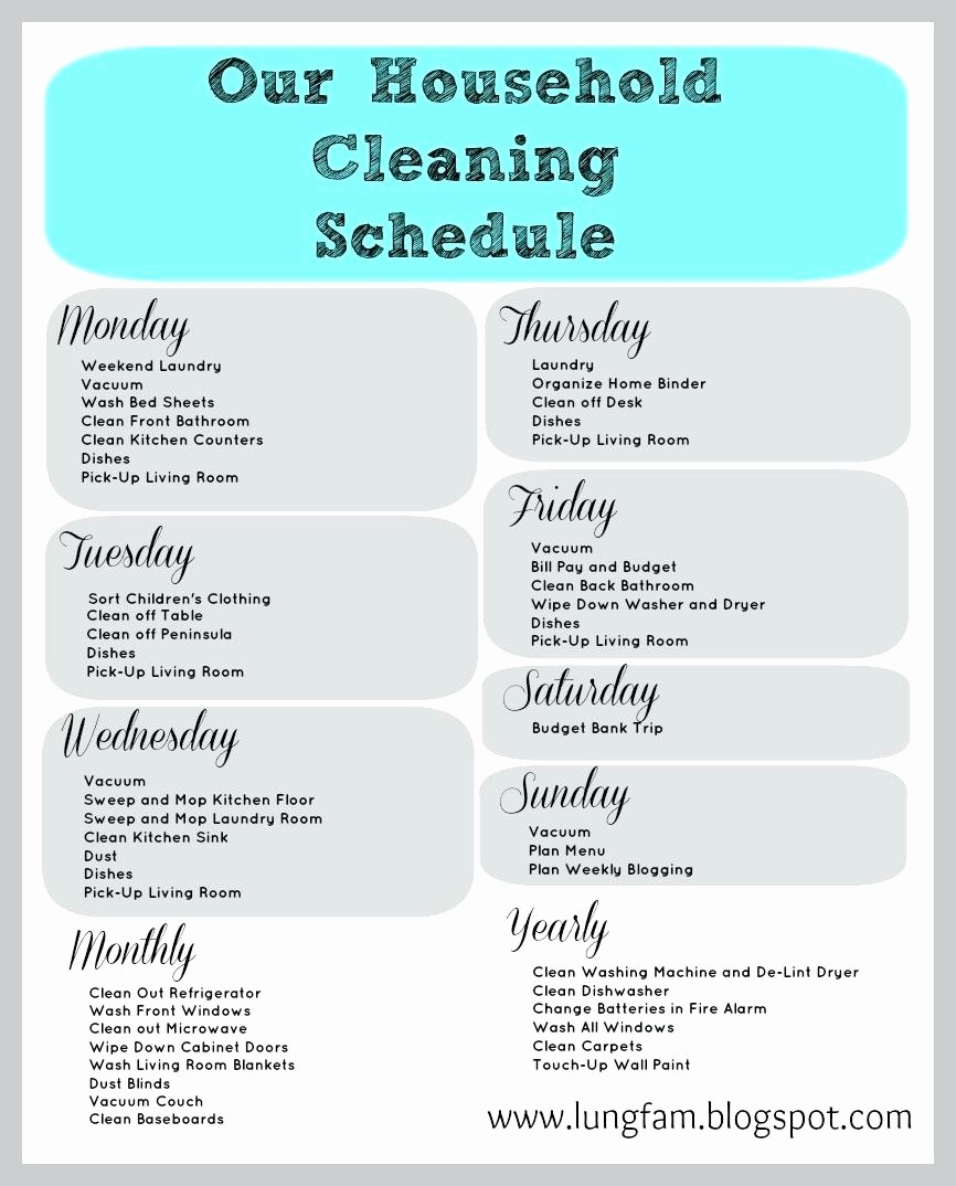 Cleaning Schedule Template for Home Luxury Kitchen Cleaning Schedule Template
