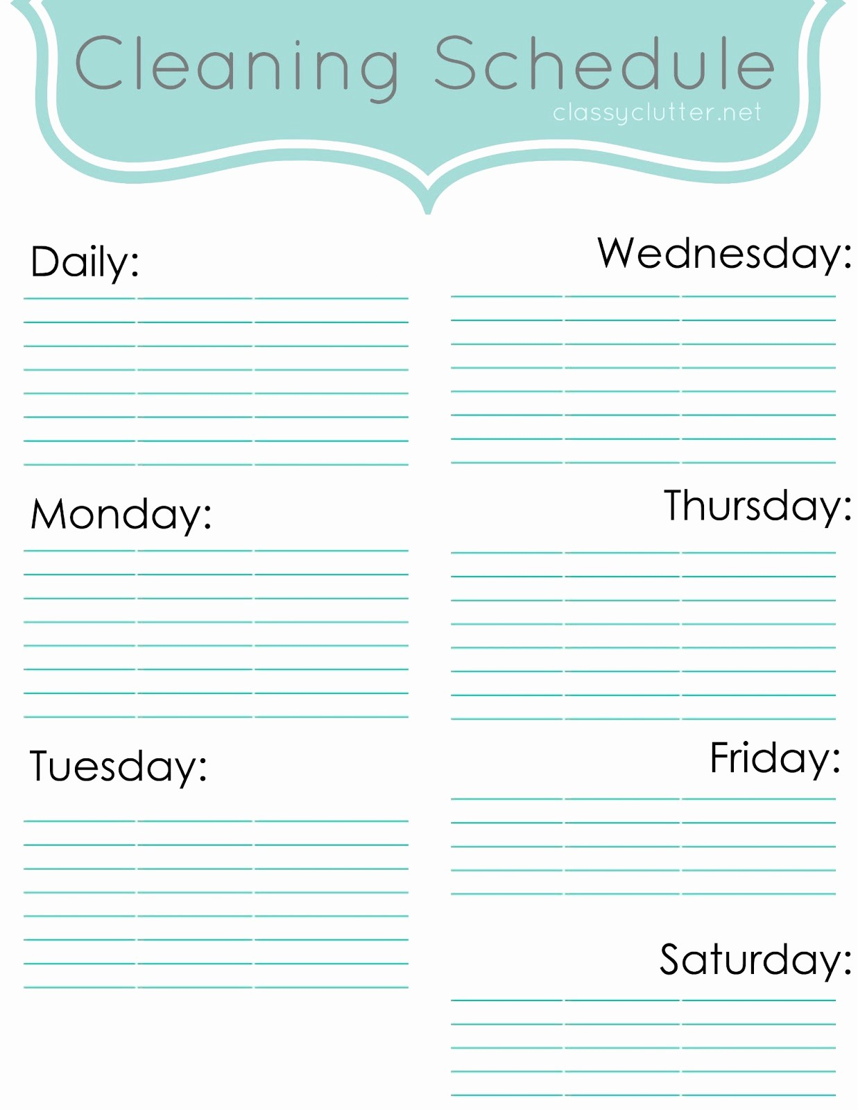 Cleaning Schedule Template for Home Luxury Weekly Cleaning Schedule Improve Your Cleaning Habits