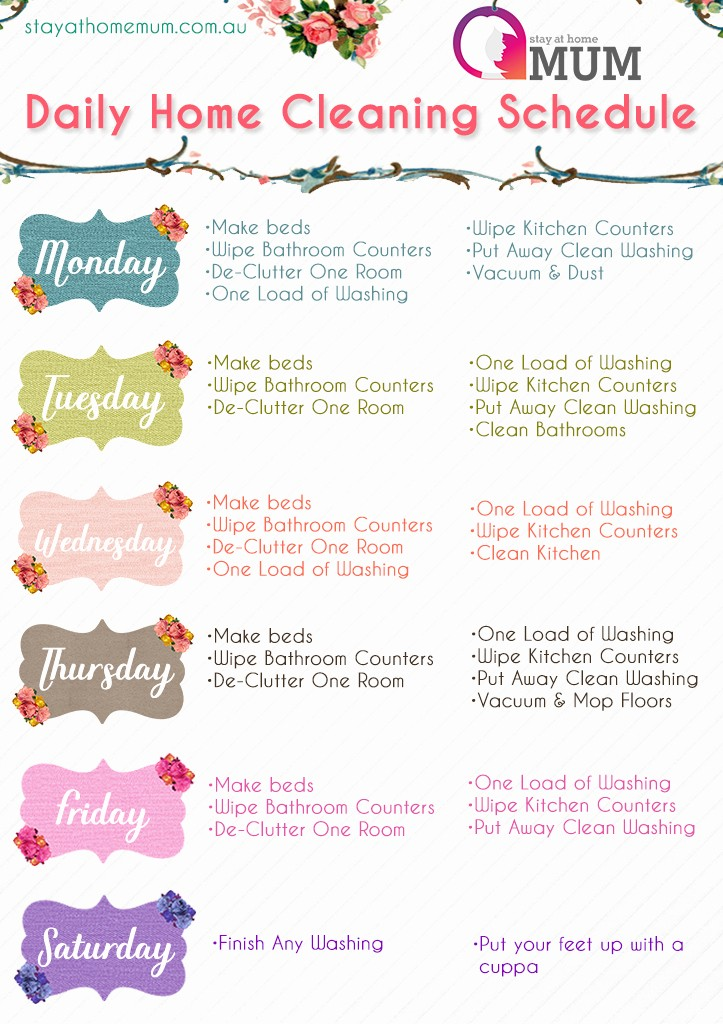 Cleaning Schedule Template for Home New Daily Home Cleaning Schedule