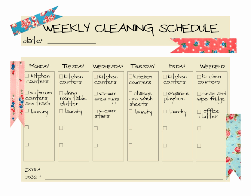 Cleaning Schedule Template for Home Unique Daily Cleaning Schedule Template