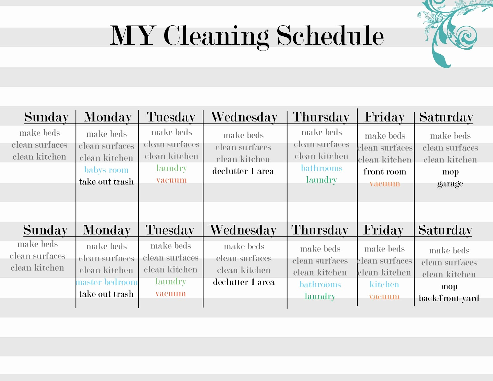 Cleaning Schedule Template for Home Unique Sissyprint Maintaining the Tidy Guest Post Vintage Lemon