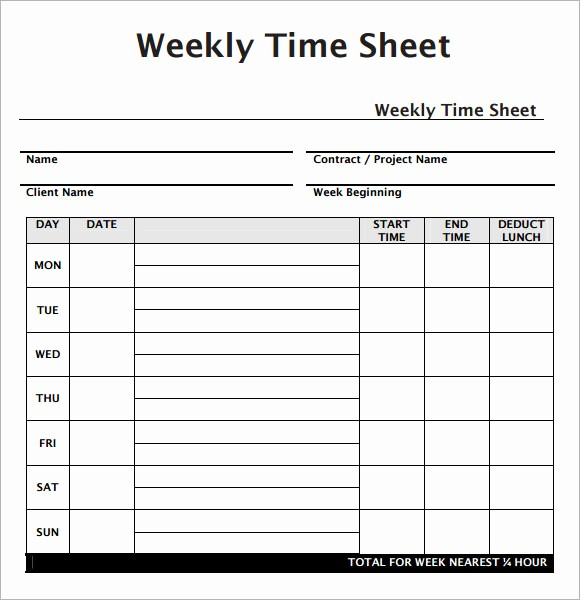 Clock In and Out Timesheet Beautiful Weekly Timesheet Template 7 Free Download for Pdf