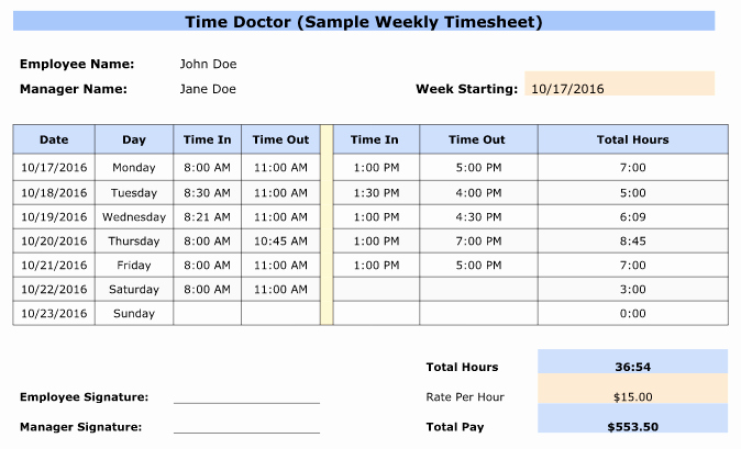 Clock In and Out Timesheet Lovely Free Weekly Bi Weekly & Monthly Employee Timesheet Templates