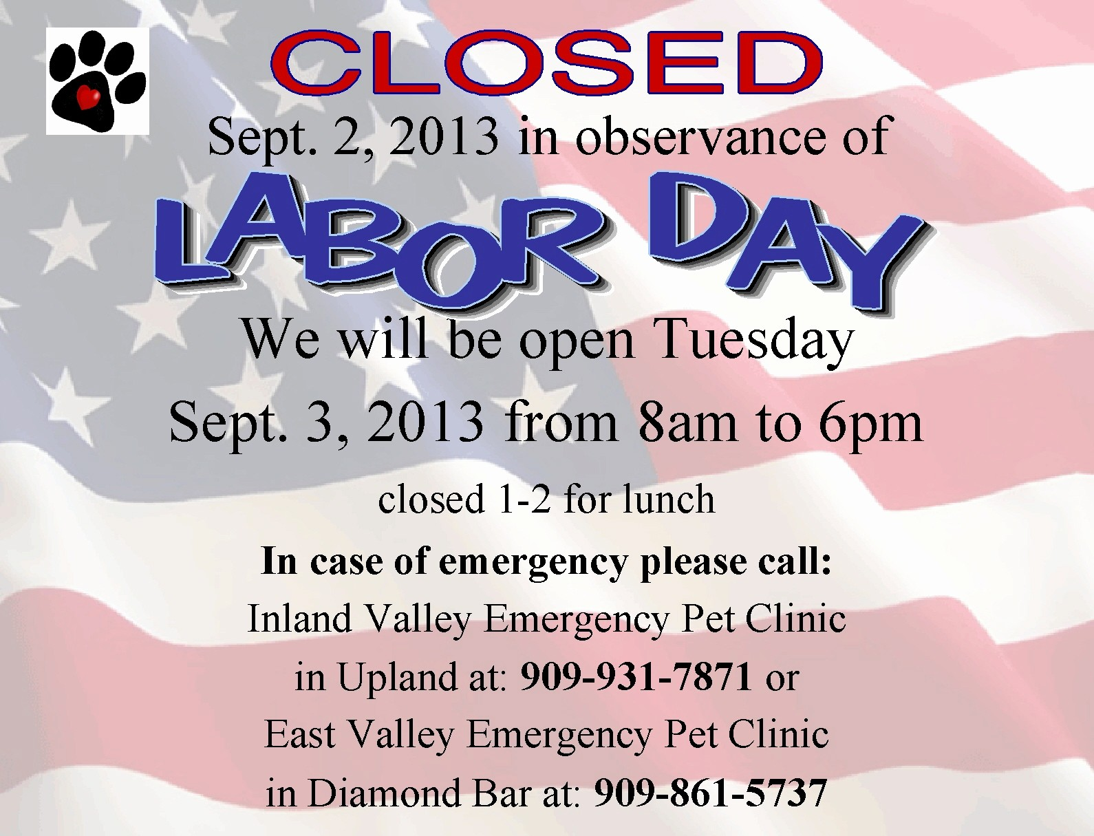 Closed 4th Of July Template Awesome Pomona Valley Veterinary Hospital