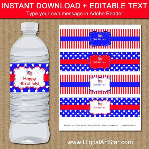 Closed 4th Of July Template Inspirational 4th Of July Water Bottle Labels July 4th Decor