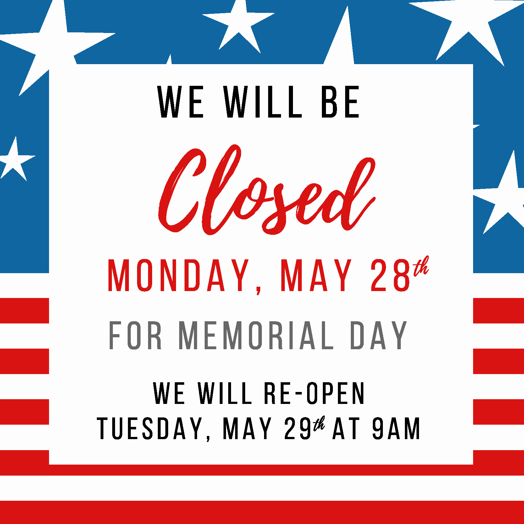 Closed 4th Of July Template Lovely Memorial Day Closed San Gabriel Valley Habitat for Humanity