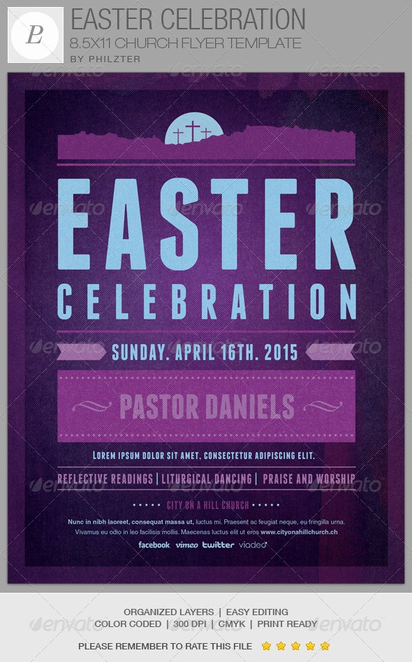 Closed for Easter Sign Template Awesome Easter Celebration Church Flyer Template