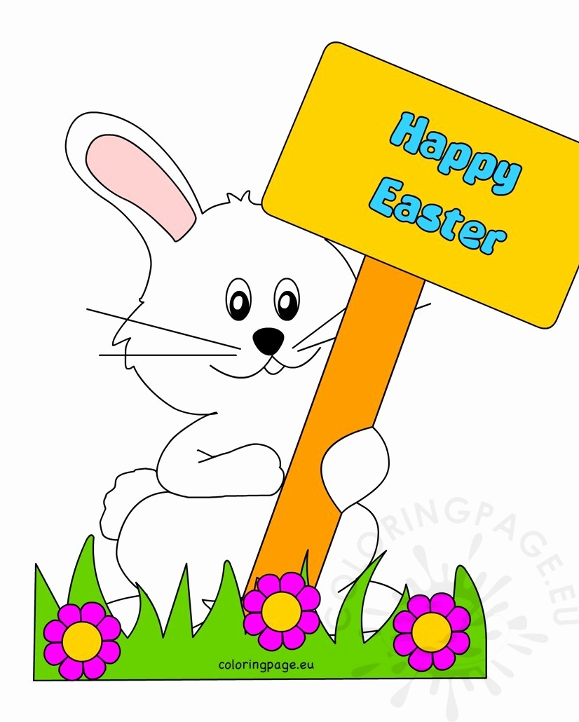 Closed for Easter Sign Template Awesome Happy Easter Bunny with Sign