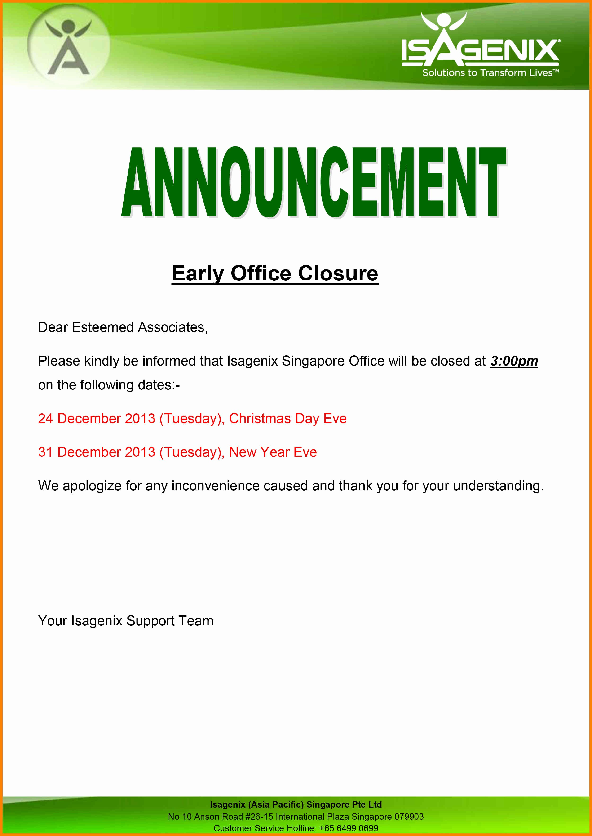 Closed for Easter Sign Template Best Of 15 Office Closure Notice