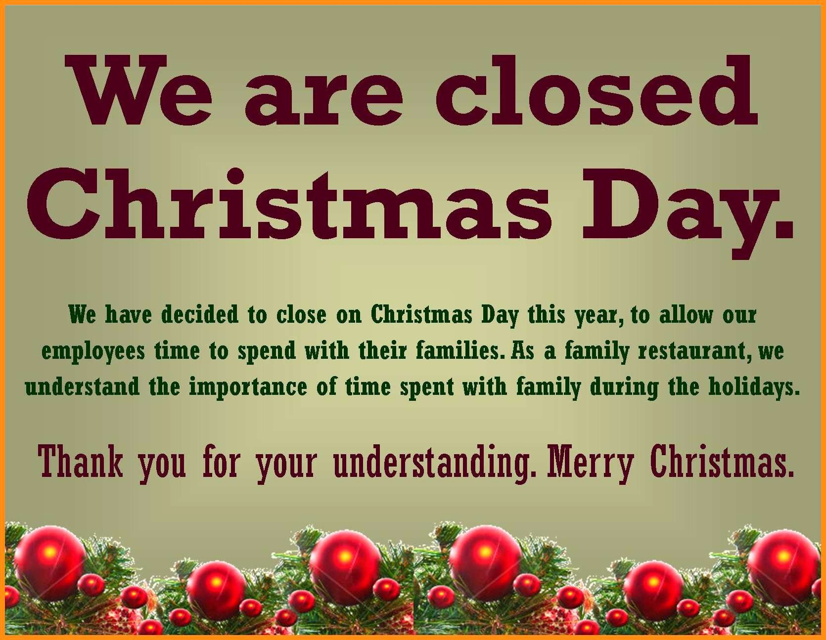 Closed for the Holiday Sign Awesome 5 6 Free Printable Holiday Closed Signs