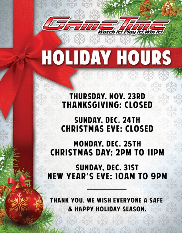 Closed for the Holiday Sign Beautiful Gametime Holiday Hours 2017 Gametime