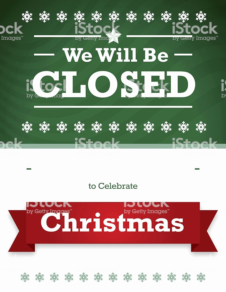 Closed for the Holiday Sign Elegant Christmas Holiday Closed Signs