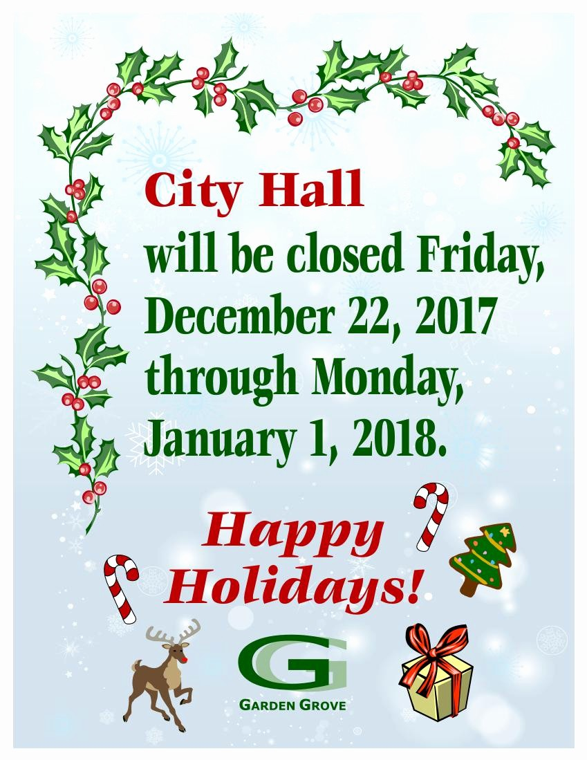 Closed for the Holiday Sign Lovely City Hall Closed No Street Sweeping Christmas and New