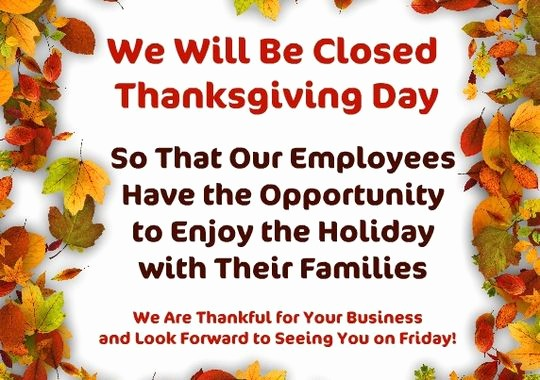 Closed for the Holiday Sign Unique Closed for Thanksgiving Sign Templates – Happy Easter