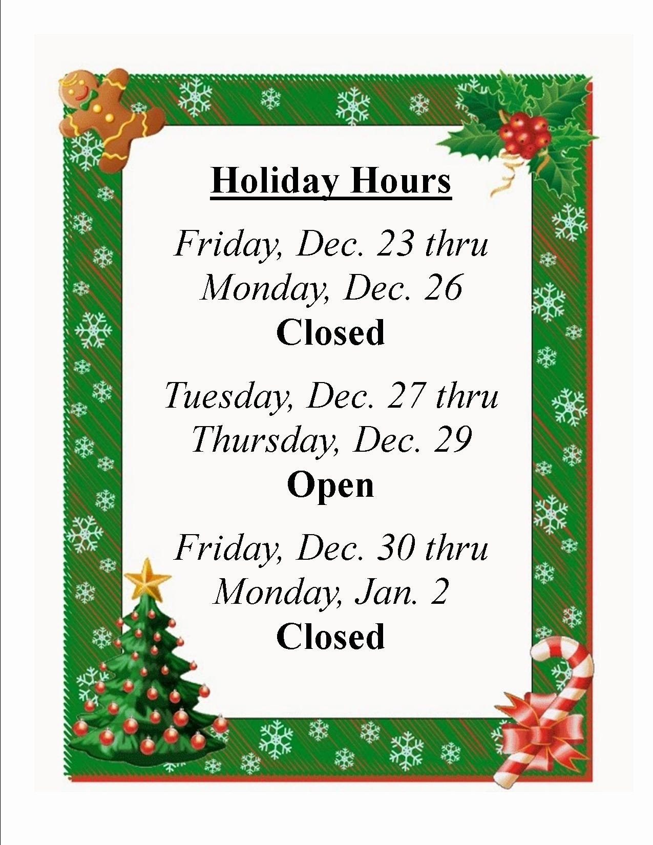 Closed for the Holidays Sign Inspirational Mayville Public Library